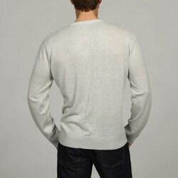 Oggi Moda Men's Linen-blend V-neck Pullover Sweater - Thumbnail 1