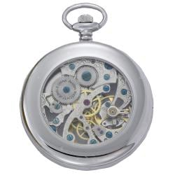 Thumbnail 2, Avalon 17-jewel Mechanical Skeleton Stainless Steel Pocket Watch with Chain. Changes active main hero.