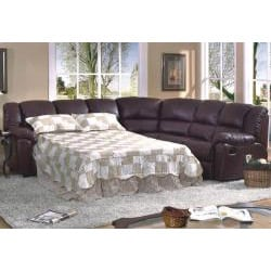 Thumbnail Brown Leather Match Full Sleeper Reclining Sectional Sofa