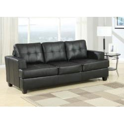Diamond Black Faux Leather Sleeper Sofa