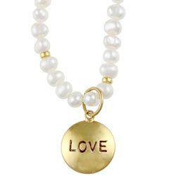 14k Gold over Sterling Silver Pearl Mom/ Love Charm Necklace (4-5 mm) - Thumbnail 1