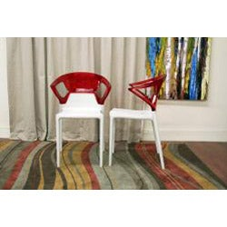 Swap White Plastic Modern Dining Chair with Red Backrest (Set of 2) - Thumbnail 1