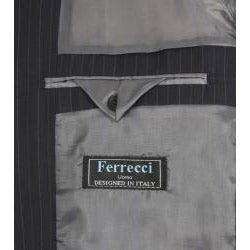 Ferrecci Men's Navy Stripe 3-button Suit - Thumbnail 1