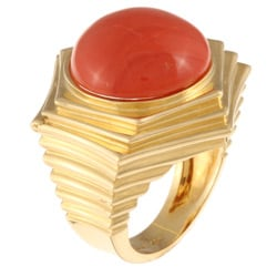 18k Yellow Gold Coral Cabochon Chunky Estate Ring Sz 6 - Thumbnail 1