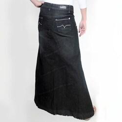 b6273605b92 Shop Tabeez Women s Frayed Black Long Denim Skirt - Free Shipping On ...