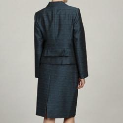 John Meyer Women's Marine Blue 3-button Skirt Suit