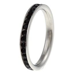 Stainless Steel Black Cubic Zirconia Eternity Ring