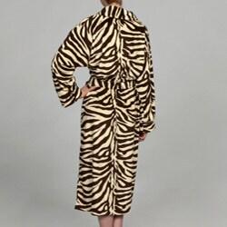 Women's Zebra Print Microluxe Bath Robe - Thumbnail 1