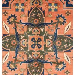 Afghani Hand-knotted Orange/ Green Oushak Wool Rug (7'3 x 9'4) - Thumbnail 1