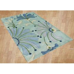 Alliyah Handmade Nile Blue, Turquoise, Aqua, Dark Blue, and Grass Green New Zealand Blend Wool Rug (8' x 10') - Thumbnail 1