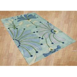Alliyah Handmade Nile Blue, Turquoise, Aqua, Dark Blue, and Grass Green New Zealand Blend Wool Rug (8' x 10')