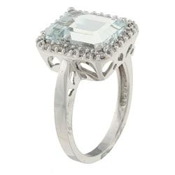 10k White Gold Aquamarine and 1/5ct TDW Diamond Ring (J-K, I1-I2) - Thumbnail 1
