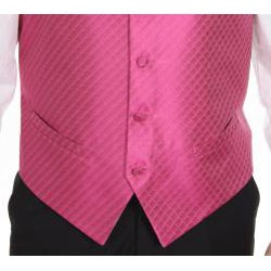 Ferrecci Men's Fuchsia Patterned 4-piece Vest Set