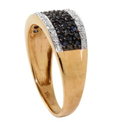 Angelina D'Andrea 18k Gold/ Silver Sapphire and Diamond Accent Ring - Thumbnail 1