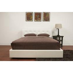 Modern Off-white Leather Chesterfield Queen Size Bed