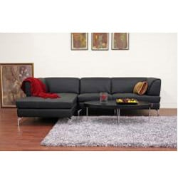 Godfrey Black Leather Modern Sectional Sofa - Thumbnail 1