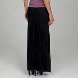 Vivienne Vivienne Tam Women's Black Elastic Waistband Long Skirt