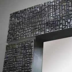Square Silver Cobblestone Contemporary Mirror - Thumbnail 1