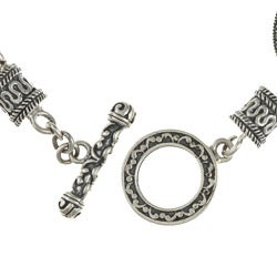 MARC Sterling Silver Yellow Cubic Zirconia and Marcasite Toggle Bracelet