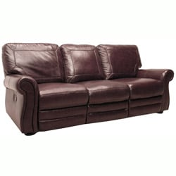 Winchester Burgundy Italian Leather Reclining Sofa and Chair