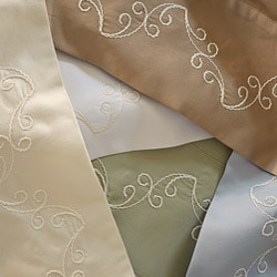 Grand Luxe Egyptian Cotton 500 Thread Count Scroll Pillowcases (Set of 2)
