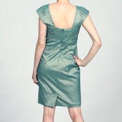Ignite Evenings Women's Green Beaded Cap-sleeve Dress - Thumbnail 1