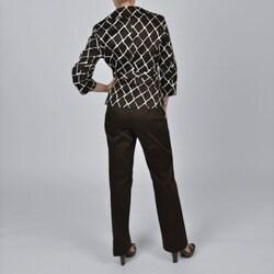 Signature by Larry Levine Brown Giraffe-print Jacket Pant Suit - Thumbnail 1
