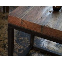 Weathered Reclaimed Wood and Iron Side Table (India)