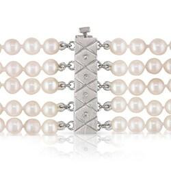 Miadora 14k Gold Akoya Pearl and 2 3/4ct TDW Diamond Necklace (H-I, I1-I2) (4-4.5 mm) - Thumbnail 1