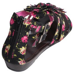 Journee Collection Women's 'Sprout-77' Floral Print Low Wedge Sandals - Thumbnail 1