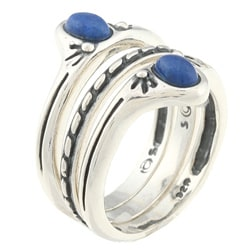Southwest Moon Sterling Silver Lapis Stackable Rings (Set of 3) - Thumbnail 1