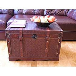 Georgetown Faux Leather Large Wooden Chest - Thumbnail 1
