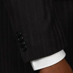 Bendetti Men's Black Shadow Stripe Wool 4-button Suit