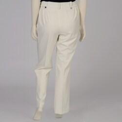 Larry Levine Women's Plus Size Winter White Satin-trim Dress Pants - Thumbnail 1