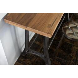 Reclaimed Teak and Metal Console and Tufted Metal Stools Set (India) - Thumbnail 1