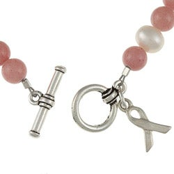 Lola's Jewelry Silvertone Jade and Pearl Breast Cancer Awareness Bracelet (8 mm) - Thumbnail 1