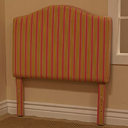 Pink and Yellow Pinstripe Fabric Twin Headboard - Thumbnail 1