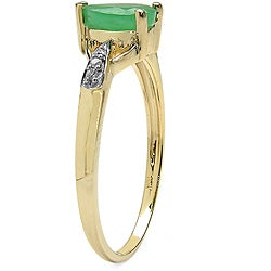 Malaika 10k Yellow Gold Emerald and Diamond Accent Ring - Thumbnail 1