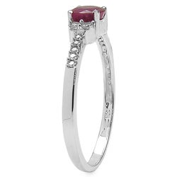Malaika 10k White Gold Ruby and 1/8ct TDW Diamond Ring (J-K, I2-I3) - Thumbnail 1