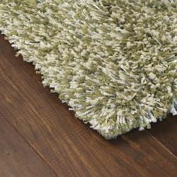 Manhattan Tweed Green/ Ivory Shag Rug (8' Round) - Thumbnail 1