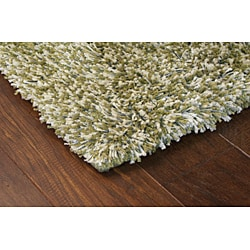 Manhattan Tweed Green/ Ivory Shag Rug (8' Square) - Thumbnail 1