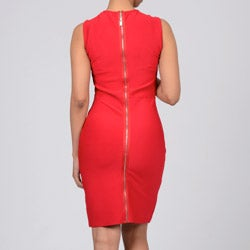 Women's Red Exposed Back Zipper Tank Dress - Thumbnail 1