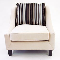 Retro-Modern Cream Fabric Chair - Thumbnail 1