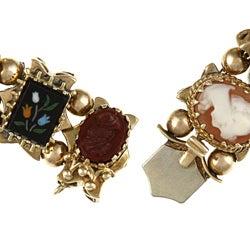 14k Yellow Gold Carved Cameo Antique Slide Bracelet - Thumbnail 1