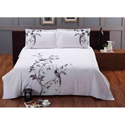 Nightingale Embroidered Queen-size 3-piece Duvet Cover Set - Thumbnail 1