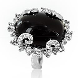 Silvertone Created Black Onyx and Crystal Filigree Cocktail Ring