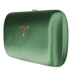 Prada Green Satin Box Clutch - Thumbnail 1