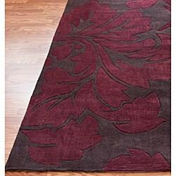 nuLOOM Handmade Pino Burgundy Floral Fantasy Rug (5' x 8') - Thumbnail 1