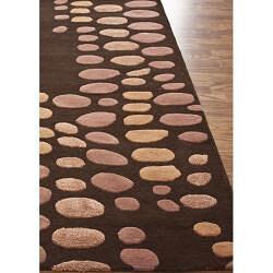 nuLOOM Handmade Modern Brown/ Pink Wool Rug (5' x 8')