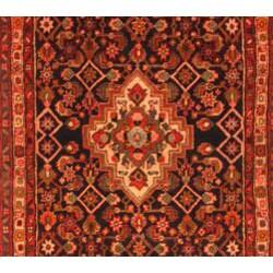 Persian Hand-knotted Navy/ Beige Hamadan Wool Rug (3'3 x 13'6) - Thumbnail 1